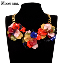 MOON GIRL Acrylic Flowers Maxi Choker Spring Fashion Trendy jewelry display 2017 statement Chokers Necklace for women collares(China)