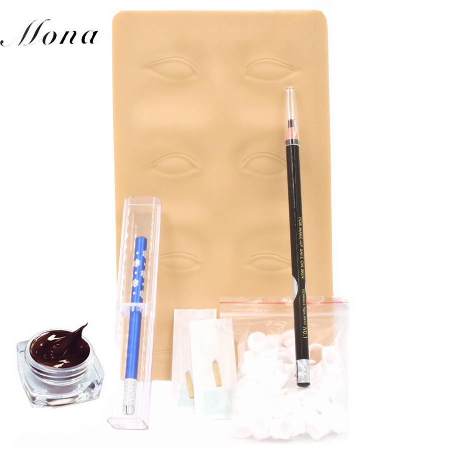 Eyebrow kit permanent makeup machine tattoo eyebrow tattoo microblading pen kits with 10pcs needle blade for learner use<br>