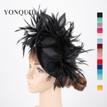 Imitation sinamay black hair fascinators sposa special wedding hats and floral fascinator with feathers headbands accessories(China)