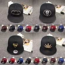 New Fashion Unisex Metal Superman Snapback Caps Hat Super Man Adjustable Hip Hop Casual Batman Baseball Cap Hats for Men Women(China)