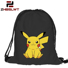 ZHBSLWT Fashion Women Animal Pikachu Backpack 3D Printing Travel Softback Women Mochila Drawstring Bag Mens Pokemon Backpack 086