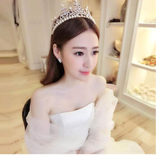 New Europe and the United States handmade alloy jewelry personality crown hair hoop crystal bride headdress