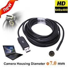 7mm Lens Snake Industrial USB Endoscope Camera 6 LED Waterproof Borescope Industrial Inspection Car Flexible USB Camera for PC