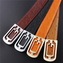 Free Shipping Top Quality Embossing Ostrich Pattern Leather Mens Belt Luxury Men Strap Male Pin Buckle Belt