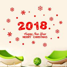 2018 Happy New Year Merry Christmas Wall Sticker Home Shop Windows Decals Decor living room bathroom drop shipping #30(China)