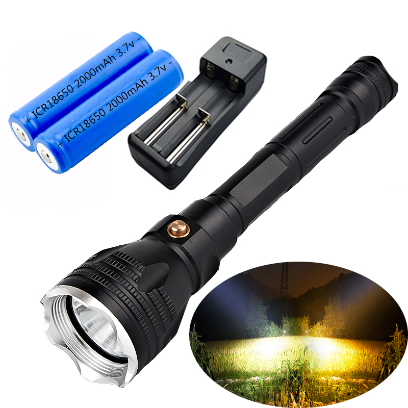 LED diving flashlight 3800Lumens CREE L2/T6 led 3mode waterproof tactical flashlight 100M underwater diving with 2* 18650<br>