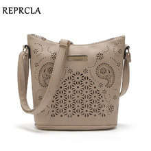 REPRCLA Hollow Out Women Bucket Bags Vintage Shoulder Bag Crossbody High Capacity Women Messenger Bags Ladies Handbags(China)