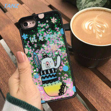 TANZ Liquid Glitter meteor sand sequins Colorful Dynamic Starry sky Dinosaur Hard Phone Cases For iphone 7 6 6S plus Back Cover