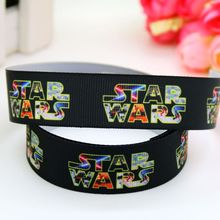 7/8'' Free shipping star war printed grosgrain ribbon headwear hair bow diy party decoration wholesale OEM 22mm B1405(China)