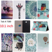 Fashion Flowers Case For Samsung Galaxy Tab A a6 10.1 2016 T580 T585 SM-T585 Case Cover Tablet Stand PC+PU Leather Shell Funda