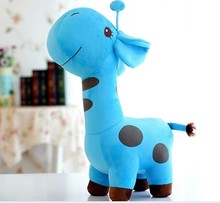 lovely cartoon spots giraffe toys cute blue giraffe plush doll birthday gift about 45cm(China)