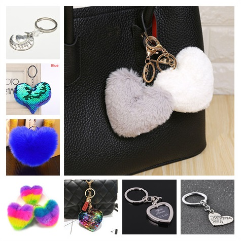1pc Lovely Heart Shape Keychain Cute Sequins Soft Pompon Faux Fur Car Key Ring Heart Keychain Jewelry Gift