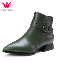 A-BUYBEA Women's head layer, cowhide leather, heel boots, pointed zip, solid color sexy dress shoes, Russian size 34-39(China)