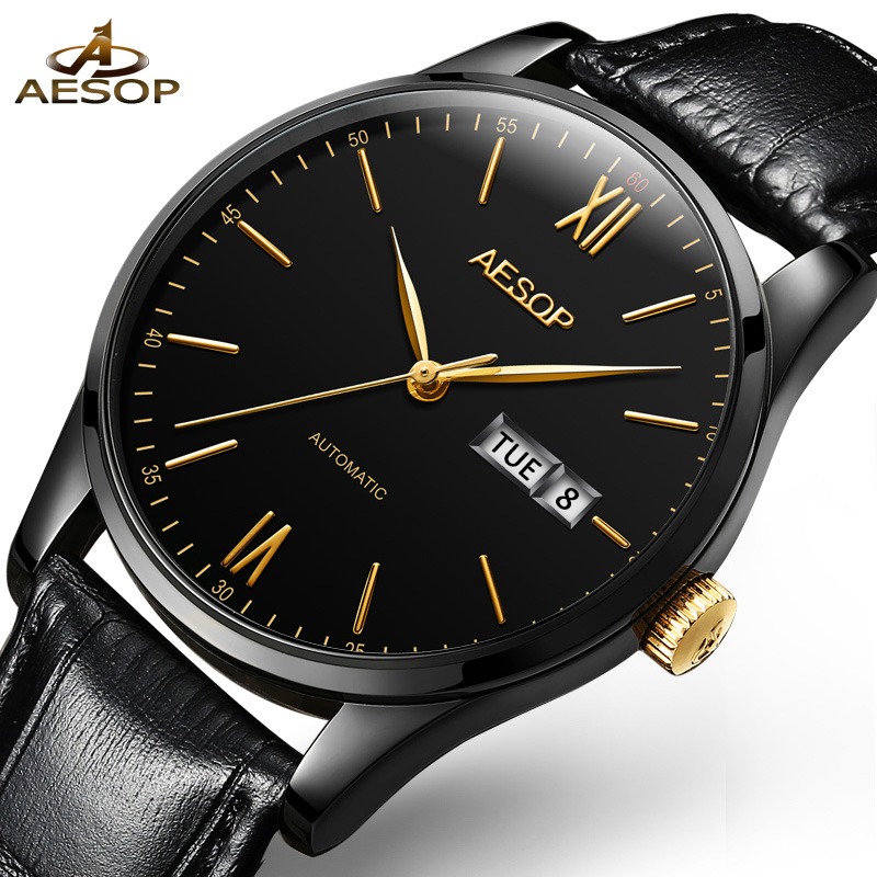 AESOP Simple Watch Men Automatic Mechanical Thin Black Wristwatch Leather Minimalist Male Clock Relogio Masculino Hodinky New 46<br>