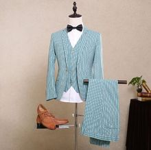 2017 Latest Coat Pant Designs Mint Green Stripes Men Suit Pattern Slim Fit Skinny Tuxedo 3 Piece Groom Prom Suits Blazer Vestido(China)