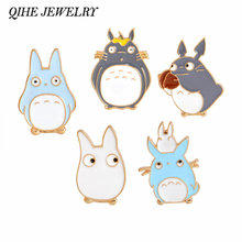 QIHE JEWELRY Kawaii Cartoon My Neighbor Totoro Brooches Pins Girl Jeans Bag Decoration Gift For Child Cute Jewelry