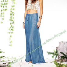 European and American Apparel Bohemia Fashion Casual Thin cowboy Mopping the floor Denim Jeans Long Maxi Skirt for Womens