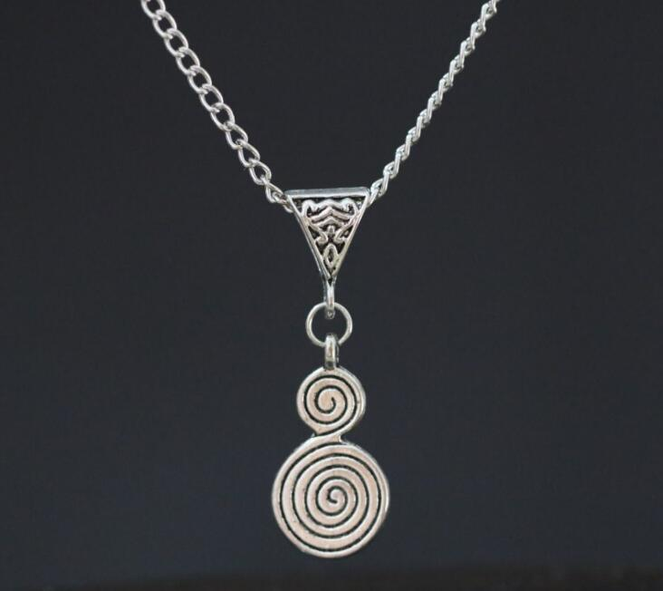 New Spiral of Life Symbol Pendant Chain Necklace Ancient Silver Charms Fashion Vintage Wiccan Pagan Jewelry ~ Christmas Gift(China (Mainland))