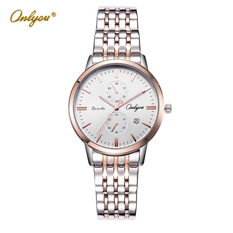 Onlyou Luxury Brand Women Wrist Watches Stainless Steel Ladies Dress Watches Waterproof Silver Quartz Business Watch 81103<br>