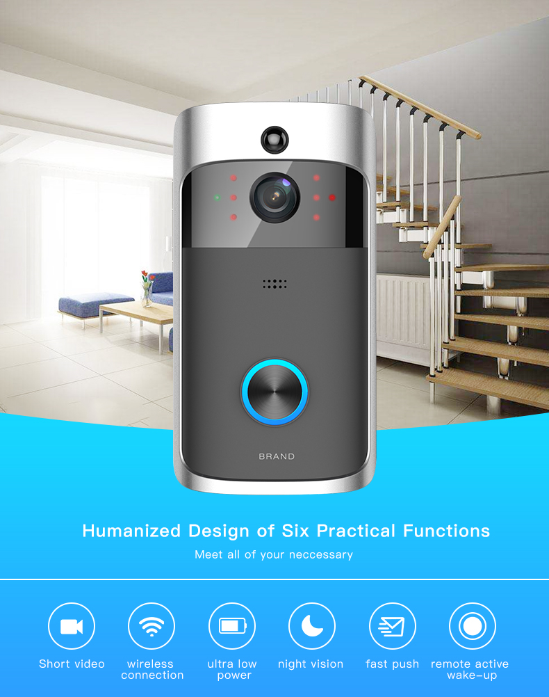 06 Wireless Doorbell Ring Chime Door Bell Video Camera WiFi IP 720P Waterproof IR Night Vision Two Way Audio