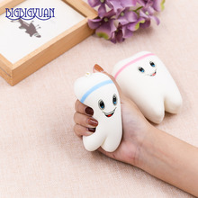 1pcs Kawaii Animal Soft Teeth Squishy Slow Rising Jumbo SqueezeJumbo Cell Phone Strap Pendant Toy color at Random Sale items(China)