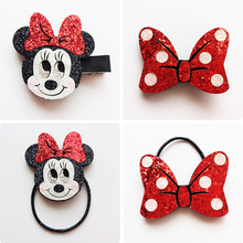 2017 New Mickey Minnie Bow Hairpcs Hair Rope Kids Hair Band Hair Accessories Sequins Headdress Set for Girls Party Celebration
