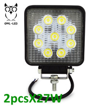 4 Inch 27W Square LED Work Light 12V 24V Led Work Lamp For 4x4 Offroad ATV Truck Tractor Motorcycle Driving Fog Lights