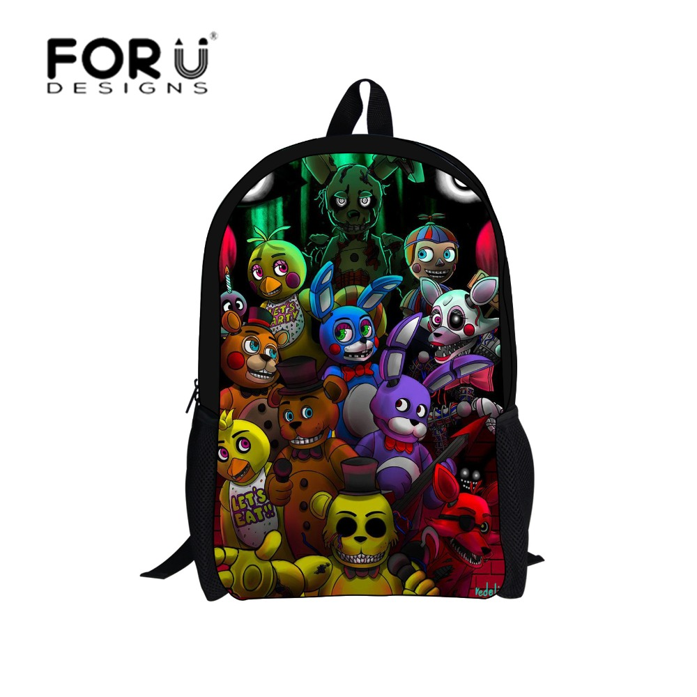 16-inch Cartoon five nights at freddys School Bags Backpack Children Schoolbags For Teenagers Boys&Girls School Book Bag Kids(China (Mainland))