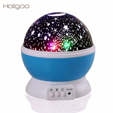 Holigoo Rotating Night Light Projector Moon Starry Sky Star Master Children Kids Baby Sleep Romantic USB Lamp Projection(China)