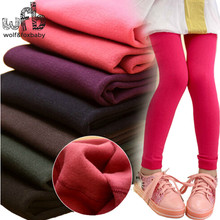 Retail 3-11years leggings candy thickened velvet children Kids infant Baby Combed Cotton spring autumn fall winter(China)