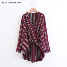 XUANCHURANWEN Women Long Sleeve Cross Blouse Wrap Casual Long Shirt Loose V neck Red Stripe Shirt  Ladies Slim Tops XL973