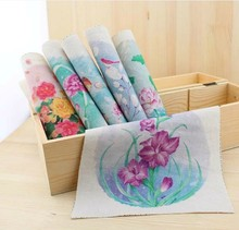 6 Assorted Designs Water the flowers Hand dyed cloth painting digital printing fabric 19*20CM Cotton and linen Handwork DIY