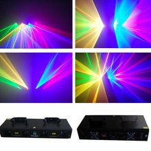 4 lents stage light 50mW Green + 200mW Red laser + 150mW Yellow laser + 100mW Blue laser for disco party