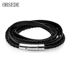 Buy OBSEDE New Fashion Black Genuine Leather Bracelets Multi Layer Rope Chain Stainless Steel Clasp Silver Jewelry Men Punk Gift for $4.21 in AliExpress store