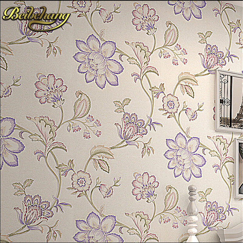 beibehang pastoral flocking non-woven wallpaper vinyl home decor  tv bedroom living room papel de parede 3D wallpaper for wall<br>