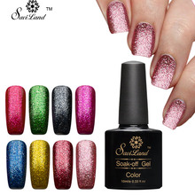 Saviland Shining Platinum Gel Lacquer 10ml UV/LED Gel Nail Polish Shimmer Glitter Color Coat Soak Off Fingernail Gel Varnish