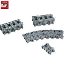 Toys for Children Building Blocks Rail Tracks for Train Straight & Curved & furcal & soft Tracks children's toys(China)