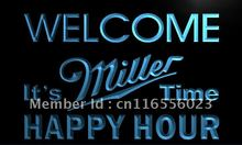 LA646- Welcome Miller Time Happy Hour Bar Neon Sign     home decor  crafts