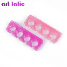 2 Pcs / Pack Silicone Soft Form Toe Separator / Finger Spacer For Manicure Pedicure Nail Tool Flexible Soft Silica Random Color(China)