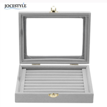 2017 Gray 8 Booths Velvet Carrying Case with Glass Cover Jewelry Ring Display Box Tray Holder Storage Box Organizer