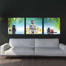 3 Panels Unframed Canvas Photo Prints Buddha Wall Art Picture Canvas Paintings Wall Decorations Artwork Giclee Paintings(China)
