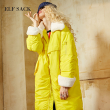 ELF SACK Winter New Solid Women Dowm Coats Fur Turn Dowm Collar Oversize Womens Outerwear Pockets Thick White Duck Down Coats(China)