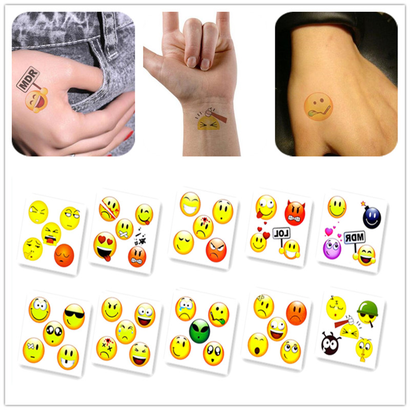 Emoji 6X6cm Little Cartoon Smile Cute Face Designer Temporary Tattoo Sticker Body Art Water Transfer Fake Taty for Face(China (Mainland))