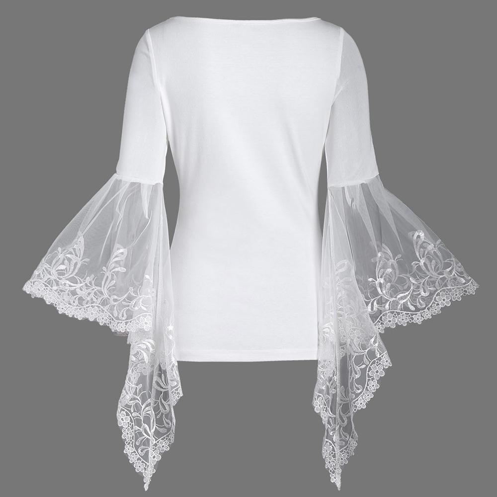 VESTLINDA Lace Flare Sleeve Sheer Panel Blusa Top Women Blouse Shirt Blusas Mujer 2017 Plus Size Women Clothing Summer Blouses 17