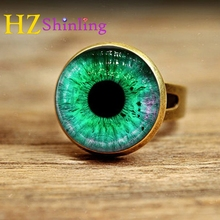 2017 New Style Green Eye Ring Glass Dome Art Photo Adjustable Rings Antique Brass Jewelry Glass Cabochon Handcrafted Accessory