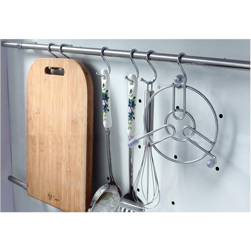 2018 Hanger Hanging S Hooks Stainless Steel Utensil Kitchen Pan ...