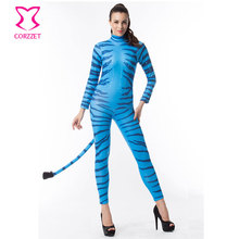 Corzzet Long Sleeve Blue Zebra Adult Animal Pajamas Cosplay Costume Catsuit with Tail Sexy Halloween Costumes For Women