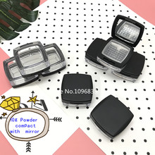 10PCS Loose Powder Container With Mirror Puff Sifter Frosted Black Flip Cap Powder Sifter Jar Box Clear Cosmetic Powder box