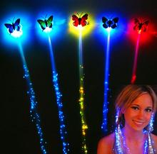 LED flash butterfly fiber braid party dance lighted up glow luminous hair extension rave halloween decor Christmas festive favor(China)