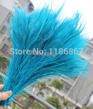 Free shipping turquoise dyed peacock feather 100pcs/lot length 25- 30 cm 10-12 inch peacock feathers centerpieces wedding